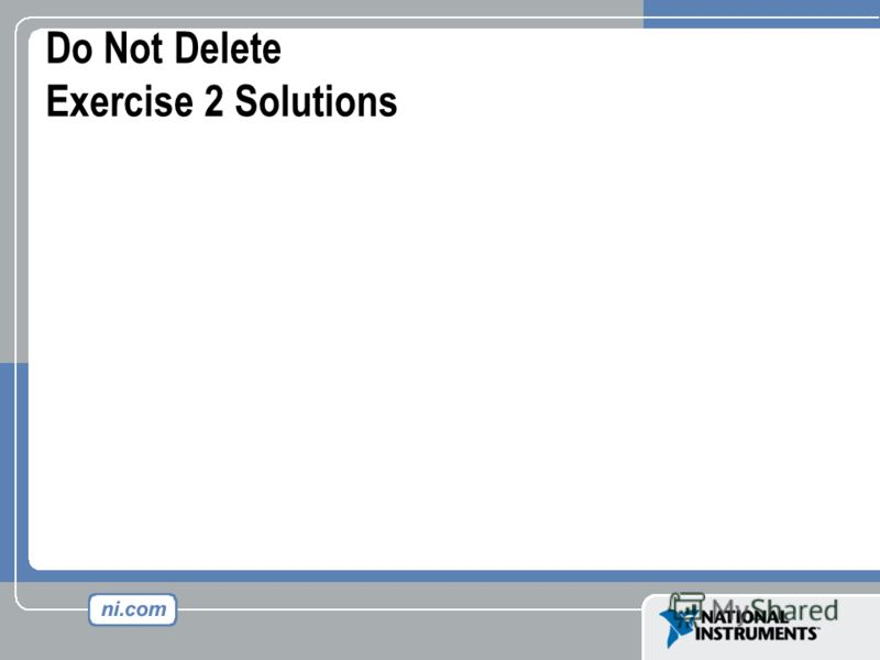 Do Not Delete Exercise 2 Solutions
