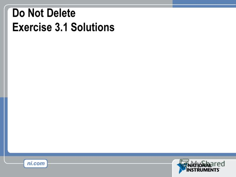 Do Not Delete Exercise 3.1 Solutions