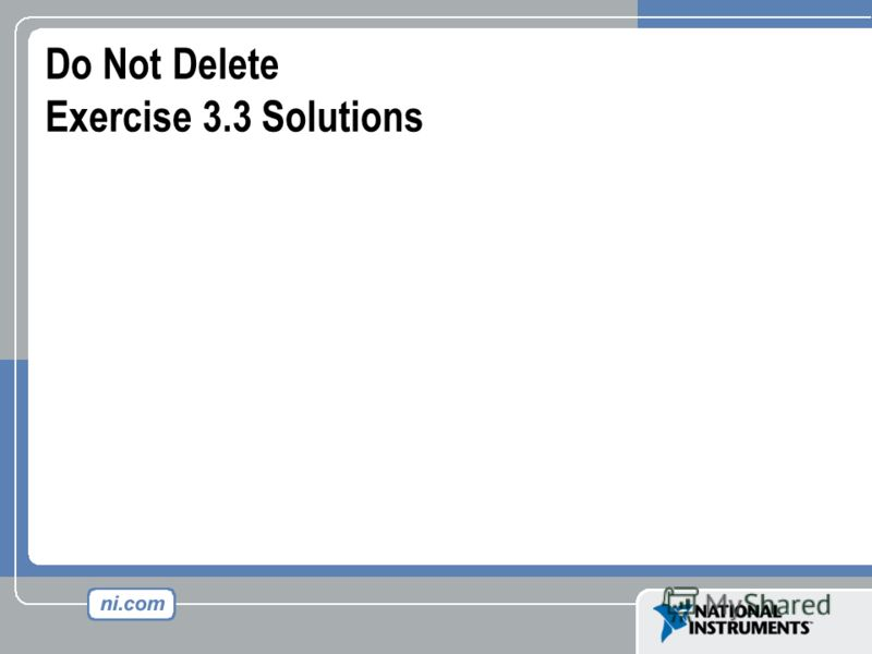 Do Not Delete Exercise 3.3 Solutions