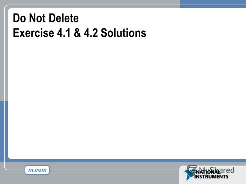 Do Not Delete Exercise 4.1 & 4.2 Solutions