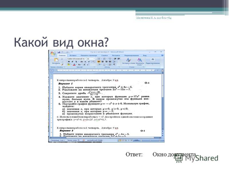 Какой вид окна? Ответ:Окно документа Милютина И. А. 212-801-764