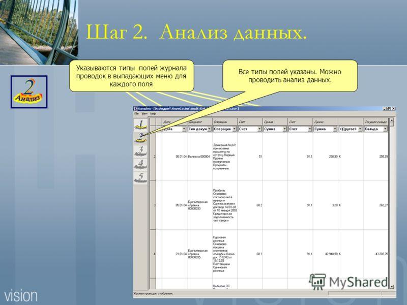 Шаг 2. Анализ данных. Указываются типы полей журнала проводок в выпадающих меню для каждого поля Все типы полей указаны. Можно проводить анализ данных.