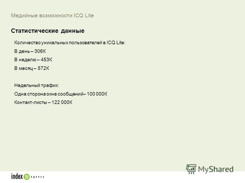 Количество уникальных пользователей в ICQ Lite: В день – 306К В неделю – 453К В месяц – 572К Недельный трафик: Одна сторона окна сообщений– 100 000К Контакт-листы – 122 000К Медийные возможности ICQ Lite Статистические данные