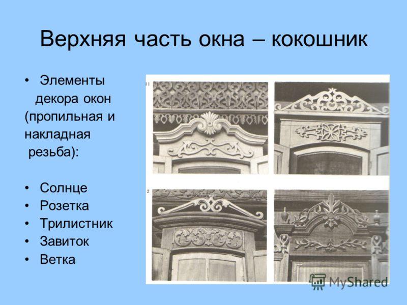 Верхняя часть окна – кокошник Элементы декора окон (пропильная и накладная резьба): Солнце Розетка Трилистник Завиток Ветка