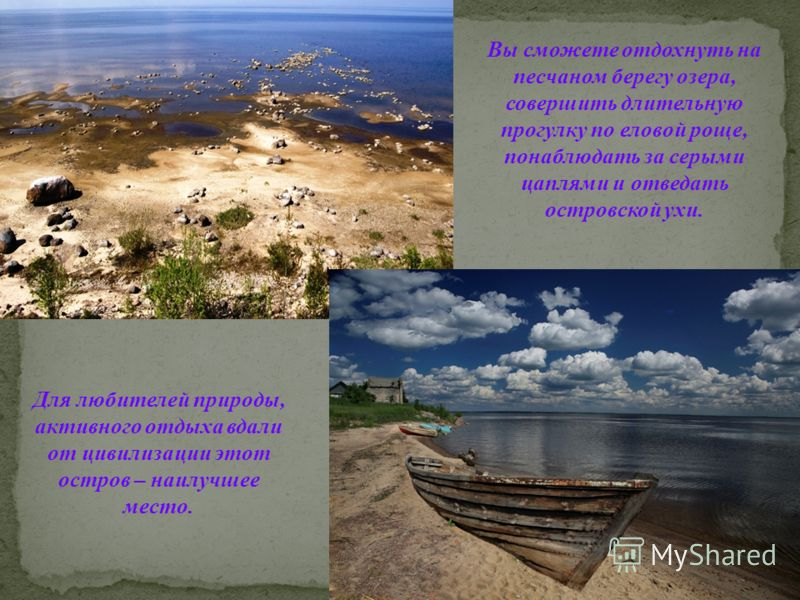 Вы сможете отдохнуть на песчаном берегу озера, совершить длительную прогулку по еловой роще, понаблюдать за серыми цаплями и отведать островской ухи. Для любителей природы, активного отдыха вдали от цивилизации этот остров – наилучшее место.
