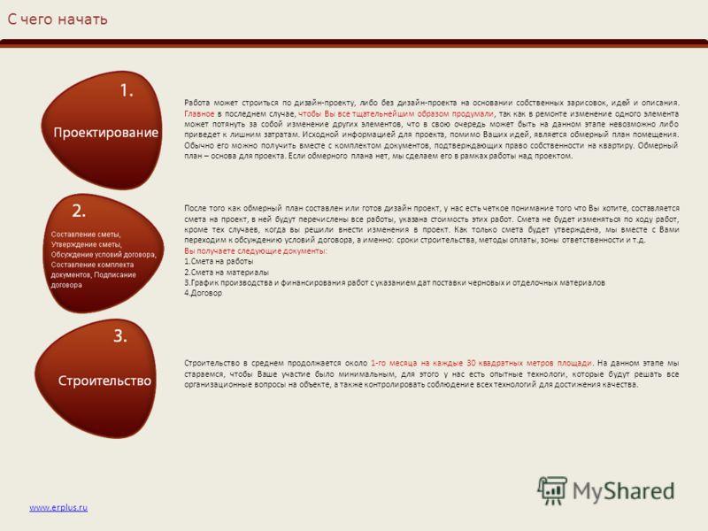 www.erplus.ru С чего начать Работа может строиться по дизайн-проекту, либо без дизайн-проекта на основании собственных зарисовок, идей и описания. Главное в последнем случае, чтобы Вы все тщательнейшим образом продумали, так как в ремонте изменение о