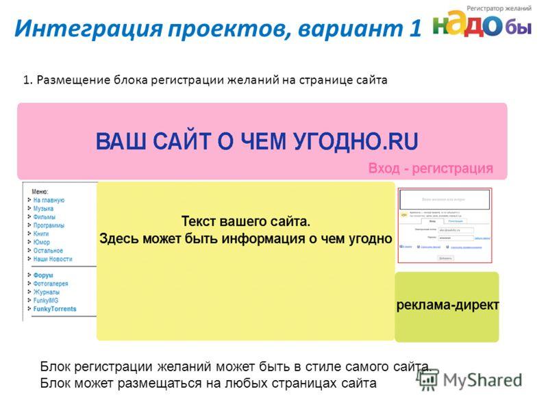 Интеграция проектов, вариант 1 1. Размещение блока регистрации желаний на странице сайта Блок регистрации желаний может быть в стиле самого сайта. Блок может размещаться на любых страницах сайта
