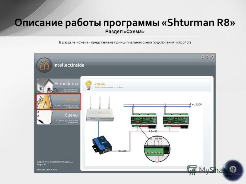 Описание работы программы «Shturman R8» Раздел «Схема» В разделе «Схема» представлена принципиальная схема подключения устройств.