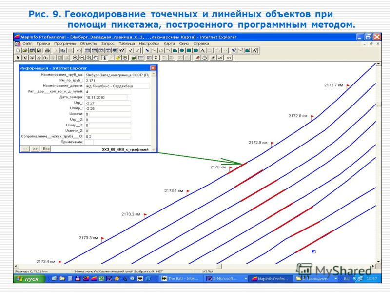 Рис. 9. Геокодирование точечных и линейных объектов при помощи пикетажа, построенного программным методом.