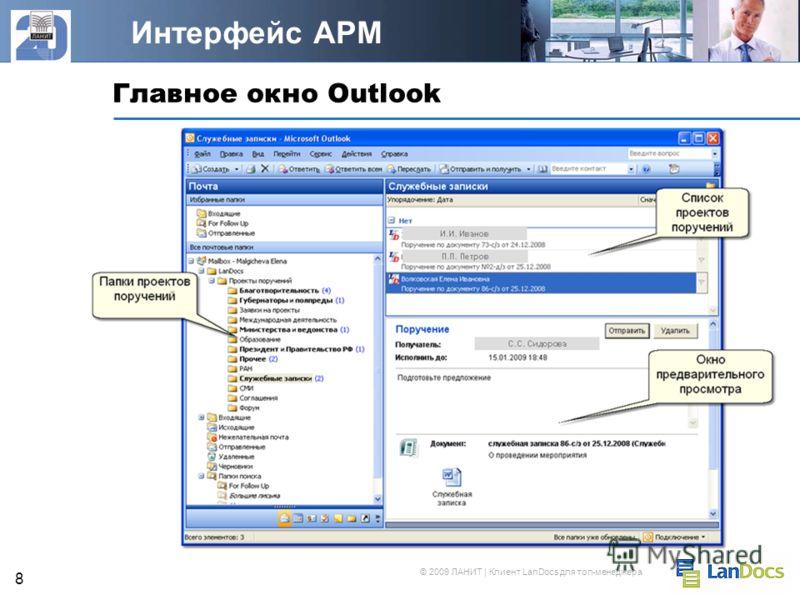 © 2009 ЛАНИТ | Клиент LanDocs для топ-менеджера 8 Главное окно Outlook Интерфейс АРМ