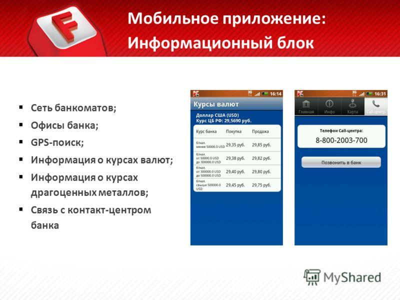 Сеть банкоматов; Офисы банка; GPS-поиск; Информация о курсах валют; Информация о курсах драгоценных металлов; Связь с контакт-центром банка Мобильное приложение: Информационный блок