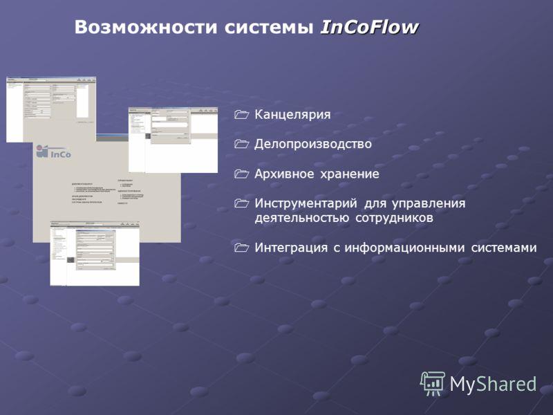 InCoFlow Возможности системы InCoFlow Канцелярия Делопроизводство Архивное хранение Инструментарий для управления деятельностью сотрудников Интеграция с информационными системами