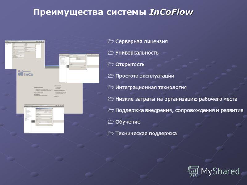 InCoFlow Преимущества системы InCoFlow Серверная лицензия Универсальность Открытость Простота эксплуатации Интеграционная технология Низкие затраты на организацию рабочего места Поддержка внедрения, сопровождения и развития Обучение Техническая подде