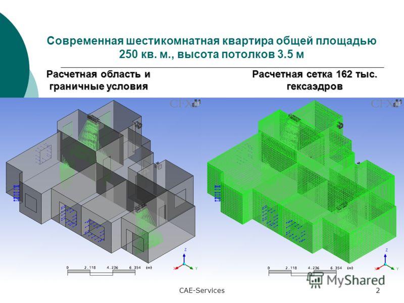 CAE-Services2 Современная шестикомнатная квартира общей площадью 250 кв. м., высота потолков 3.5 м Расчетная область и граничные условия Расчетная сетка 162 тыс. гексаэдров