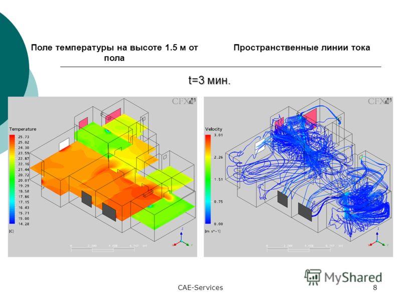 CAE-Services8 Поле температуры на высоте 1.5 м от пола Пространственные линии тока t=3 мин. t=3 мин.