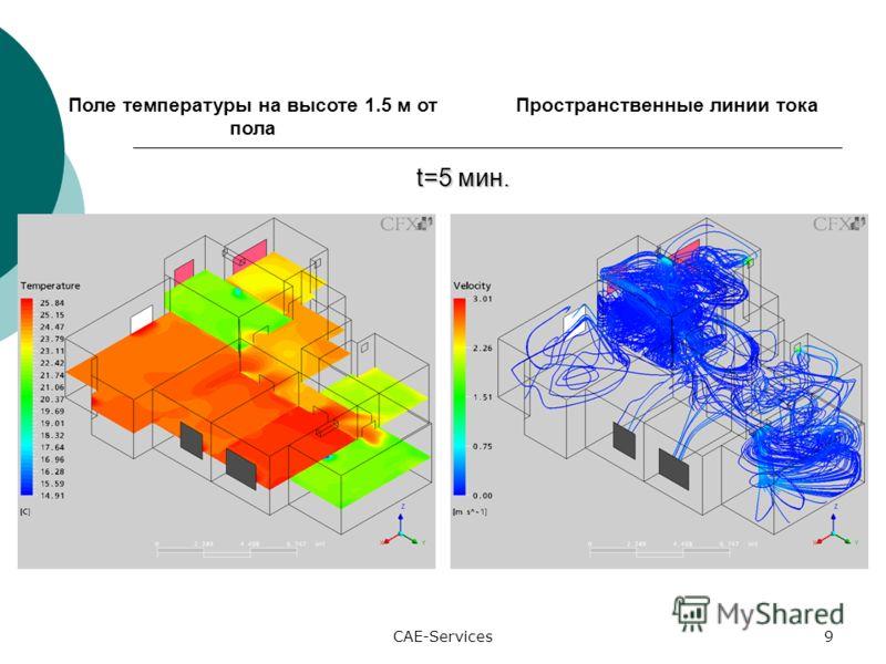 CAE-Services9 Поле температуры на высоте 1.5 м от пола Пространственные линии тока t=5 мин. t=5 мин.