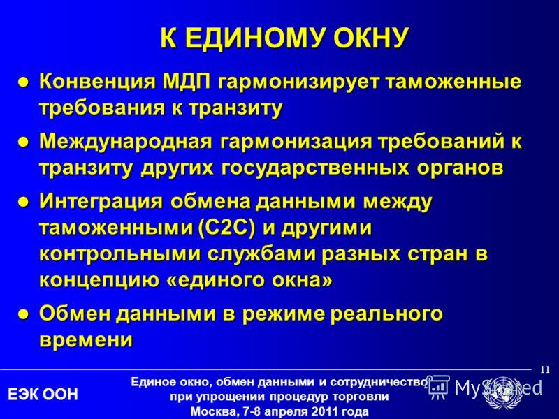 ЕЭК ООН Единое окно, обмен данными и сотрудничество при упрощении процедур торговли Москва, 7-8 апреля 2011 года 11 К ЕДИНОМУ ОКНУ Конвенция МДП гармонизирует таможенные требования к транзиту Конвенция МДП гармонизирует таможенные требования к транзи