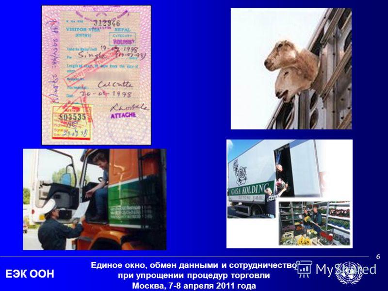 ЕЭК ООН Единое окно, обмен данными и сотрудничество при упрощении процедур торговли Москва, 7-8 апреля 2011 года 6