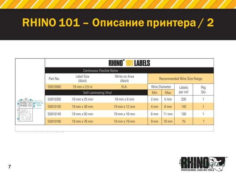 7 RHINO 101 – Описание принтера / 2 Cartridge Price: $9.99
