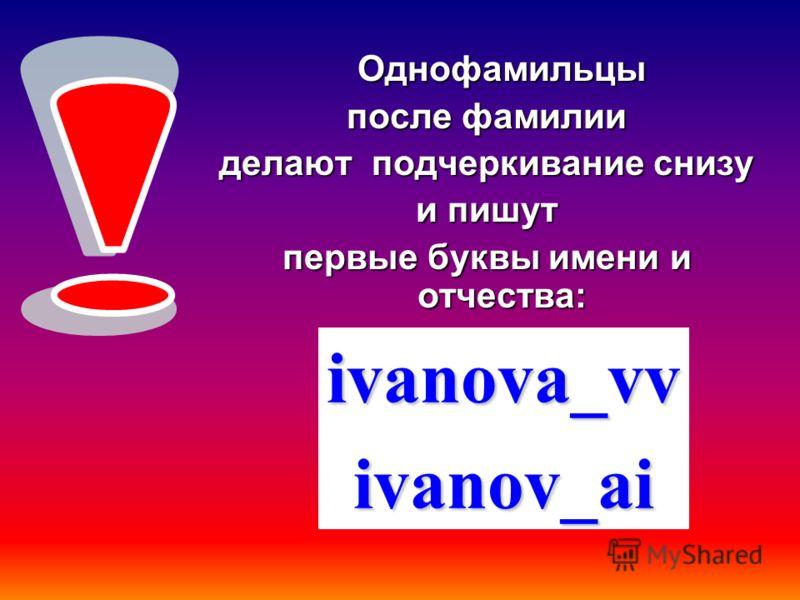 Однофамильцы после фамилии делают подчеркивание снизу и пишут первые буквы имени и отчества: ivanova_vvivanov_ai