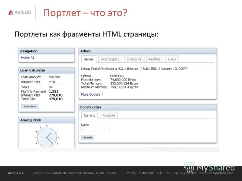 Artezio LLC Address: 3G Gubkina Str., suite 504, Moscow, Russia, 119333Phone: +7 (495) 981-0531 Fax: +7 (495) 232-2683 Email: info@artezio.com Портлет – что это? Портлеты как фрагменты HTML страницы: