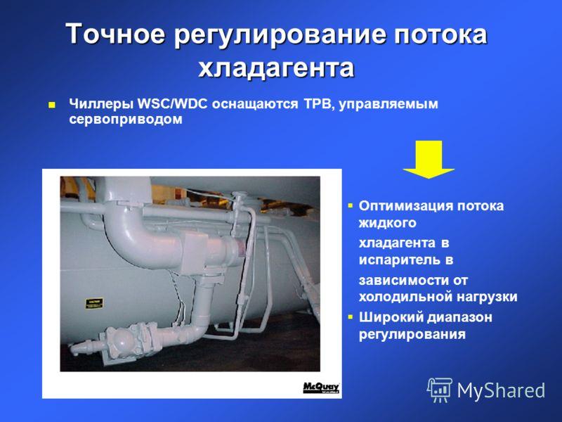 Точное регулирование потока хладагента n Чиллеры WSC/WDC оснащаются ТРВ, управляемым сервоприводом Оптимизация потока жидкого хладагента в испаритель в зависимости от холодильной нагрузки Широкий диапазон регулирования