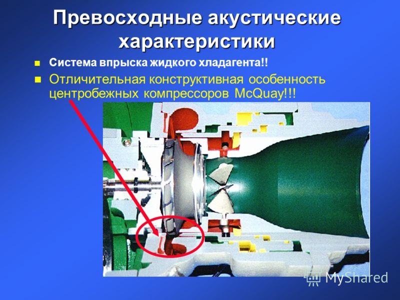 Превосходные акустические характеристики n Система впрыска жидкого хладагента!! n Отличительная конструктивная особенность центробежных компрессоров McQuay!!!