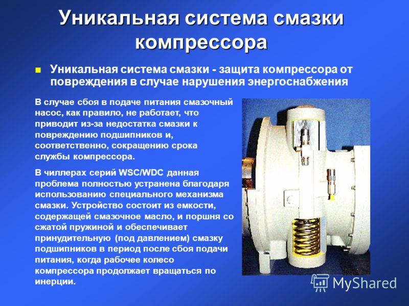 Уникальная система смазки компрессора n Уникальная система смазки - защита компрессора от повреждения в случае нарушения энергоснабжения В случае сбоя в подаче питания смазочный насос, как правило, не работает, что приводит из-за недостатка смазки к
