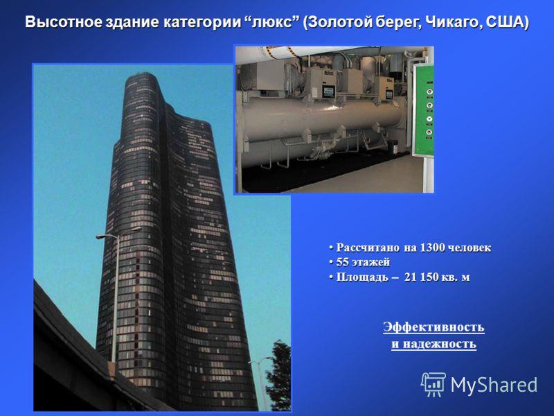Высотное здание категории люкс (Золотой берег, Чикаго, США) Рассчитано на 1300 человек Рассчитано на 1300 человек 55 этажей 55 этажей Площадь 21 150 кв. м Площадь – 21 150 кв. м Эффективность и надежность