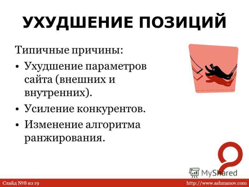 http://www.ashmanov.comСлайд 8 из 19 УХУДШЕНИЕ ПОЗИЦИЙ Типичные причины: Ухудшение параметров сайта (внешних и внутренних). Усиление конкурентов. Изменение алгоритма ранжирования.