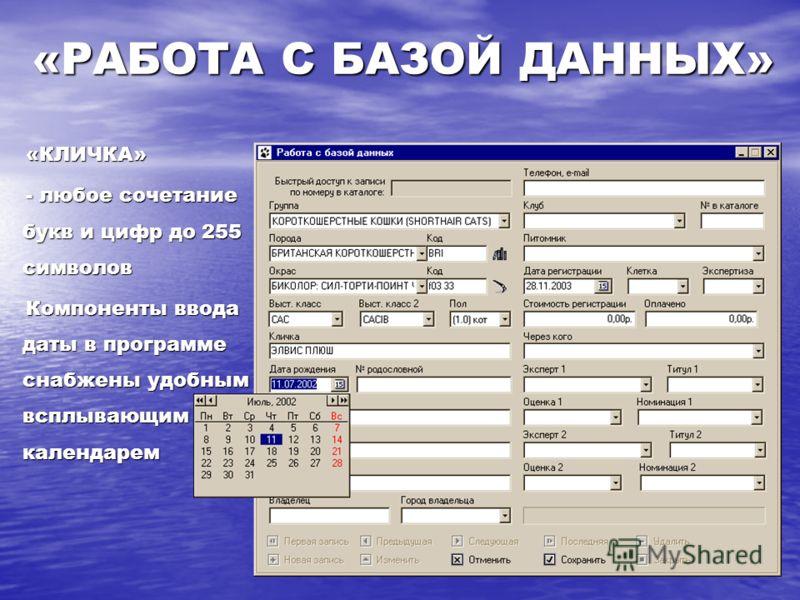 «КЛИЧКА» «КЛИЧКА» - любое сочетание букв и цифр до 255 символов - любое сочетание букв и цифр до 255 символов Компоненты ввода даты в программе снабжены удобным всплывающим календарем Компоненты ввода даты в программе снабжены удобным всплывающим кал