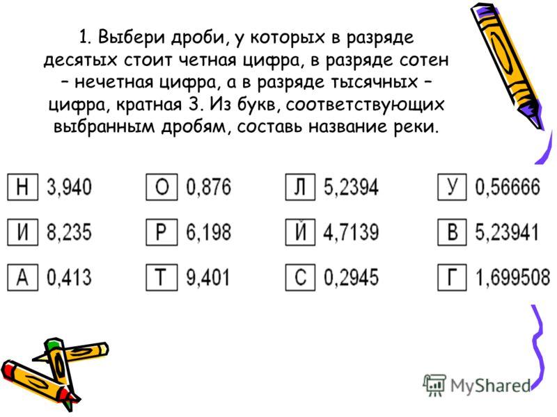 1. Выбери дроби, у которых в разряде десятых стоит четная цифра, в разряде сотен – нечетная цифра, а в разряде тысячных – цифра, кратная 3. Из букв, соответствующих выбранным дробям, составь название реки.