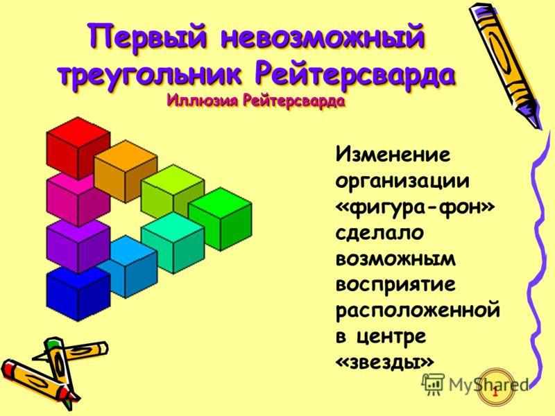 Первый невозможный треугольник Рейтерсварда Иллюзия Рейтерсварда Изменение организации «фигура-фон» сделало возможным восприятие расположенной в центре «звезды» 1
