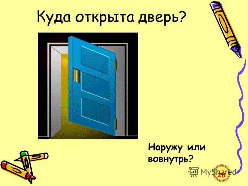 Куда открыта дверь? Наружу или вовнутрь? 28