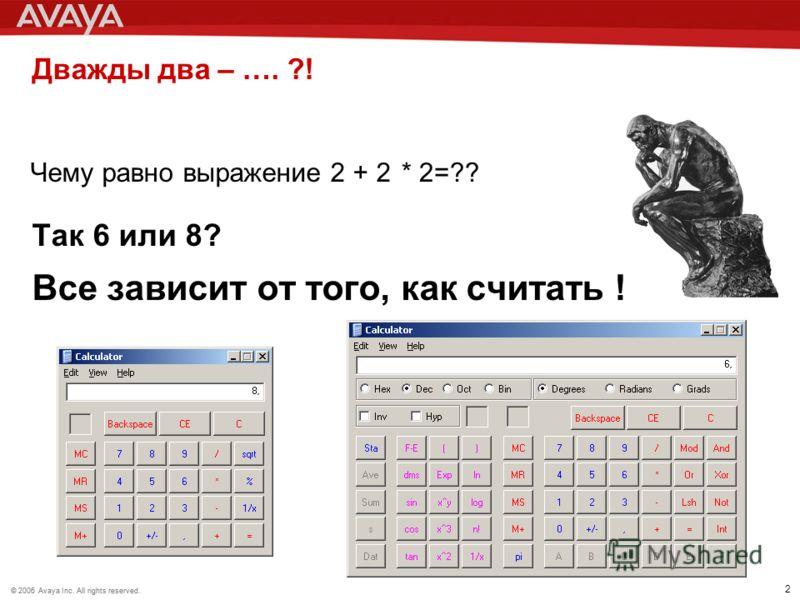 © 2006 Avaya Inc. All rights reserved.© 2005 Avaya Inc. All rights reserved. 2 Дважды два – …. ?! Так 6 или 8? Все зависит от того, как считать ! Чему равно выражение 2 + 2* 2=??