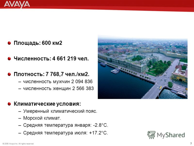 © 2006 Avaya Inc. All rights reserved.© 2005 Avaya Inc. All rights reserved. 3 Площадь: 600 км2 Численность: 4 661 219 чел. Плотность: 7 768,7 чел./км2. –численность мужчин 2 094 836 –численность женщин 2 566 383 Климатические условия: –Умеренный кли