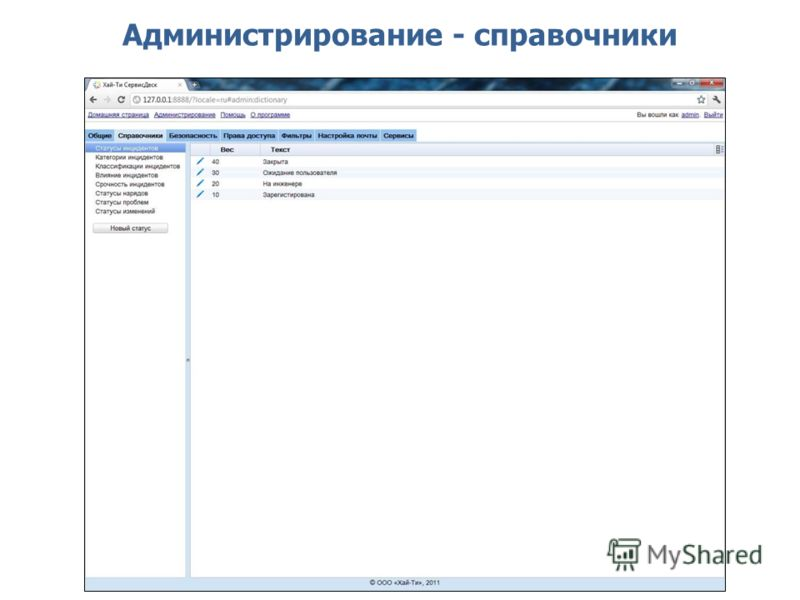 Администрирование - справочники
