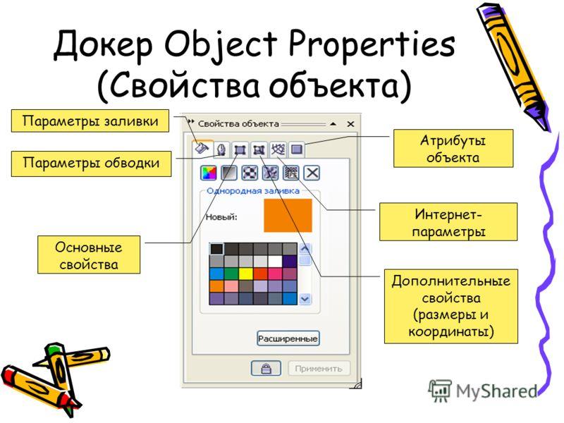 Докер Object Properties (Свойства объекта) Параметры заливки Параметры обводки Основные свойства Дополнительные свойства (размеры и координаты) Интернет- параметры Атрибуты объекта
