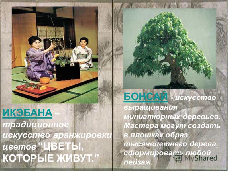 ИКЭБАНАИКЭБАНА – традиционное искусство аранжировки цветов.ЦВЕТЫ, КОТОРЫЕ ЖИВУТ. БОНСАЙБОНСАЙ - искусство выращивания миниатюрных деревьев. Мастера могут создать в плошках образ тысячелетнего дерева, сформировать любой пейзаж.