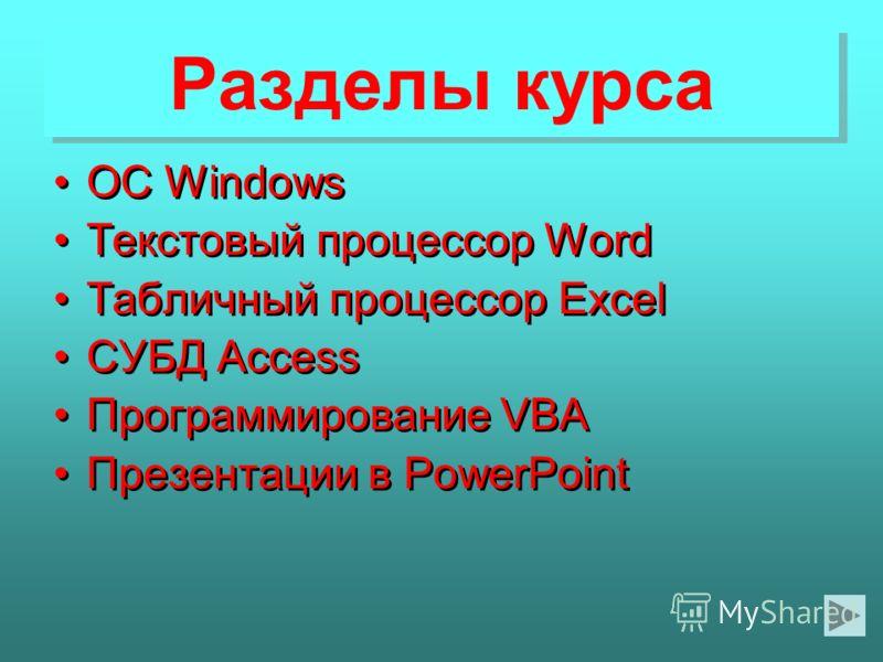Разделы курса Разделы курса ОС Windows Текстовый процессор Word Табличный процессор Excel СУБД Access Программирование VBA Презентации в PowerPoint ОС Windows Текстовый процессор Word Табличный процессор Excel СУБД Access Программирование VBA Презент