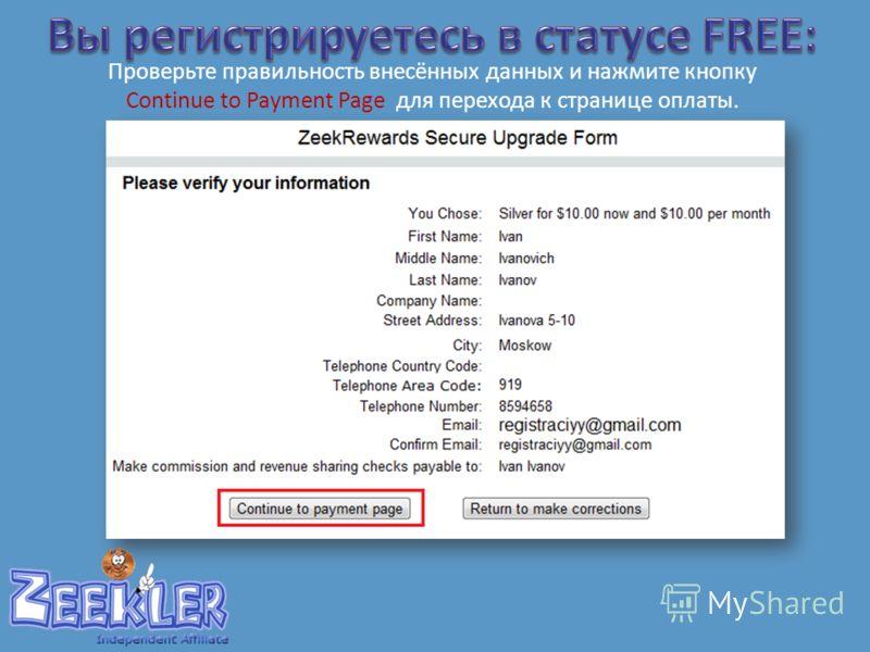 Проверьте правильность внесённых данных и нажмите кнопку Continue to Payment Page для перехода к странице оплаты.
