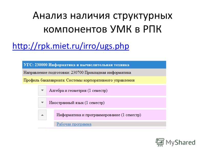 Анализ наличия структурных компонентов УМК в РПК http://rpk.miet.ru/irro/ugs.php