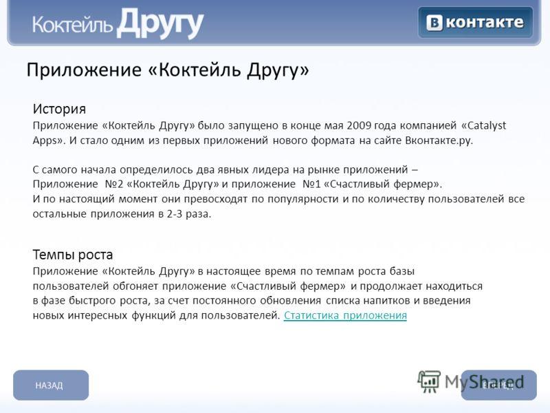 Приложение «Коктейль Другу» История Приложение «Коктейль Другу» было запущено в конце мая 2009 года компанией «Catalyst Apps». И стало одним из первых приложений нового формата на сайте Вконтакте.ру. С самого начала определилось два явных лидера на р