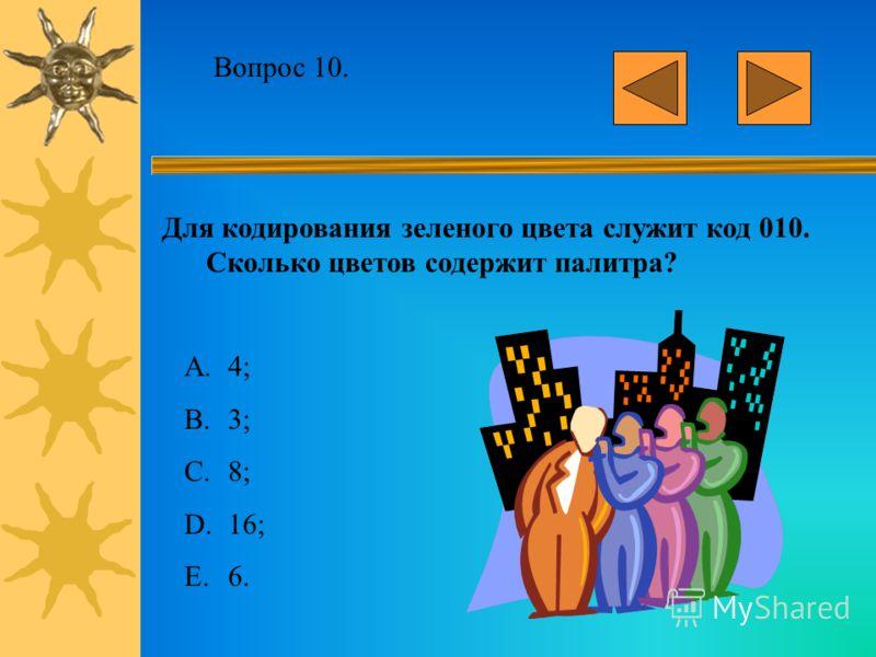 Вопрос 9. Объем страницы видео памяти – 125 Кбайт. Графический дисплей работает с 16-цветной палитрой. Какова разрешающая способность графического дисплея? A.640 x 200; B.320 x 400; C.640 x 400; D.640 x 800; E.512 x 400.
