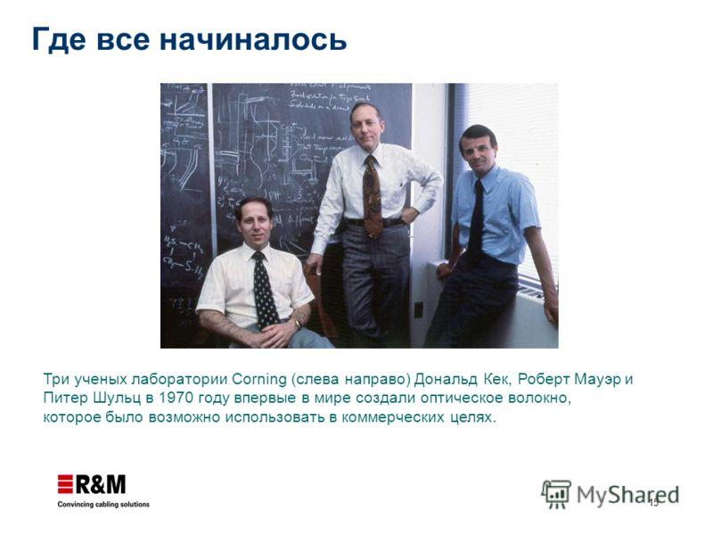 15 Где все начиналось Три ученых лаборатории Corning (слева направо) Дональд Кек, Роберт Мауэр и Питер Шульц в 1970 году впервые в мире создали оптическое волокно, которое было возможно использовать в коммерческих целях.