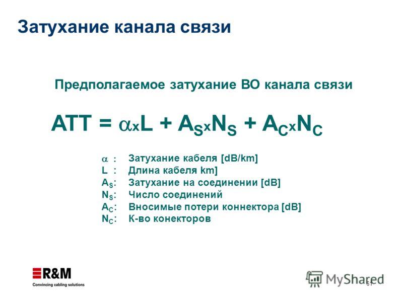 61 ATT = x L + A S x N S + A C x N C L : A S : N S : A C : N C : Предполагаемое затухание ВО канала связи Затухание кабеля [dB/km] Длина кабеля km] Затухание на соединении [dB] Число соединений Вносимые потери коннектора [dB] К-во конекторов Затухани