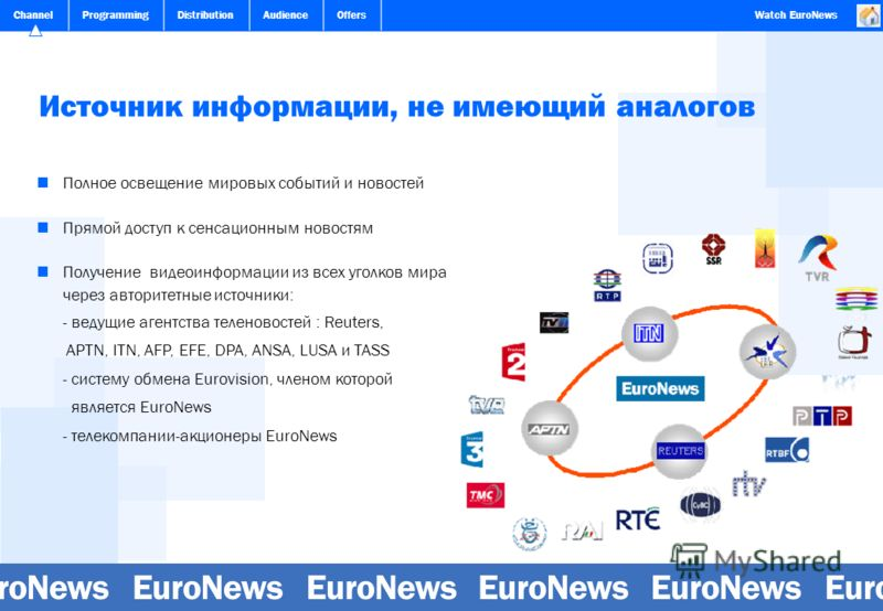 ChannelProgrammingDistributionAudienceOffersWatch EuroNews Источник информации, не имеющий аналогов Полное освещение мировых событий и новостей Прямой доступ к сенсационным новостям Получение видеоинформации из всех уголков мира через авторитетные ис