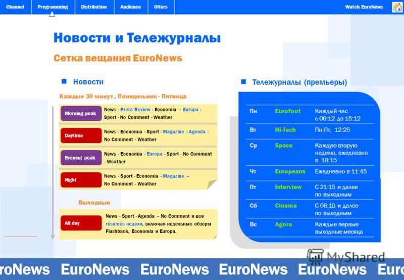 ChannelProgrammingDistributionAudienceOffersWatch EuroNews Новости и Тележурналы Сетка вещания EuroNews Каждые 30 минут, Понедельник - Пятница Новости Тележурналы (премьеры) ПнEurofootКаждый час с 06:12 до 15:12 ВтHi-TechПн-Пт, 12:25 СрSpaceКаждую вт