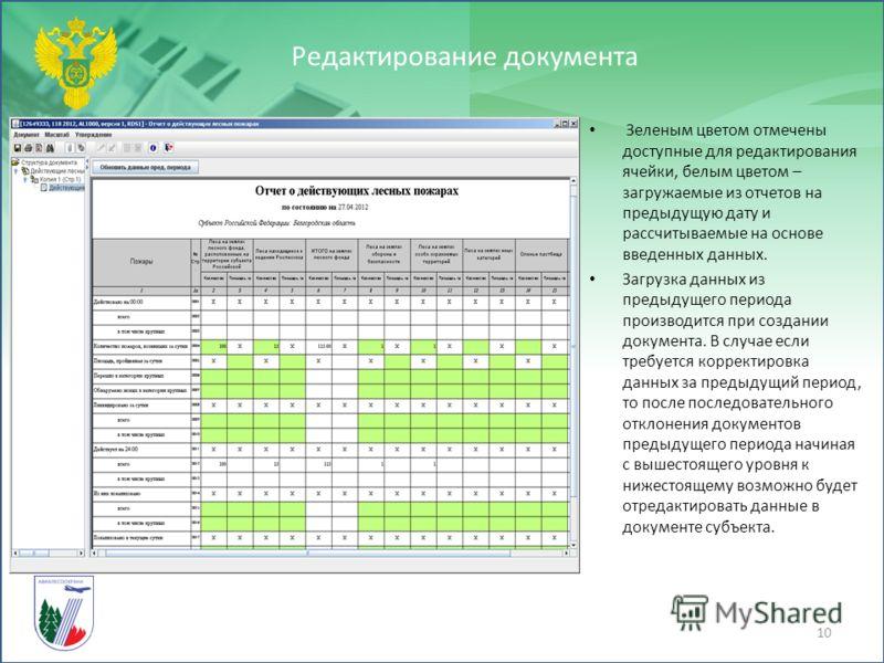В форме присутствует кнопка загрузка данных из прошлого периода для Отчета о действующих лесных пожарах. Редактирование документа 10 Зеленым цветом отмечены доступные для редактирования ячейки, белым цветом – загружаемые из отчетов на предыдущую дату