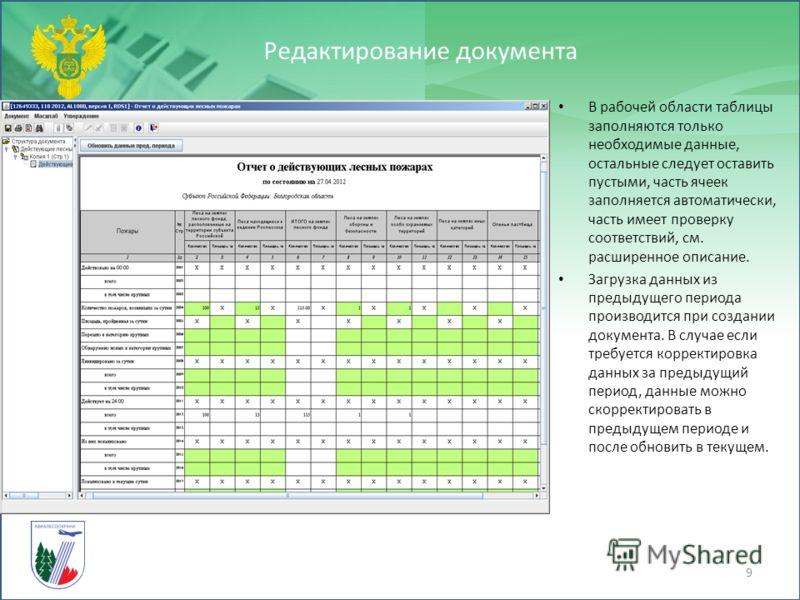 Редактирование документа 9 В рабочей области таблицы заполняются только необходимые данные, остальные следует оставить пустыми, часть ячеек заполняется автоматически, часть имеет проверку соответствий, см. расширенное описание. Загрузка данных из пре